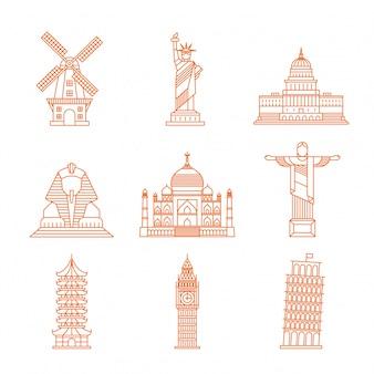 Landmark single line icons modern world illustration vector