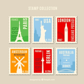 Landmark stamps collection in vintage style