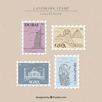 Коллекция марок landmark с городами и памятниками