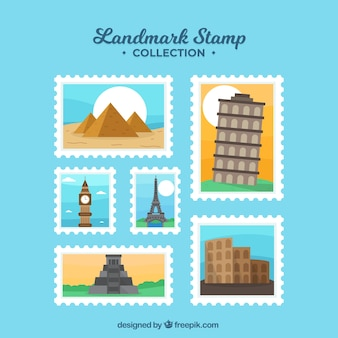 Landmark stamps collection with different places