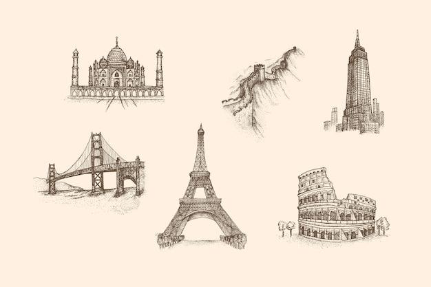 Ориентир старинные иллюстрации с рисованной стиль