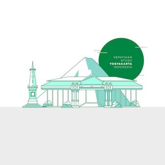Landmark yogyakarta indonesia flat design