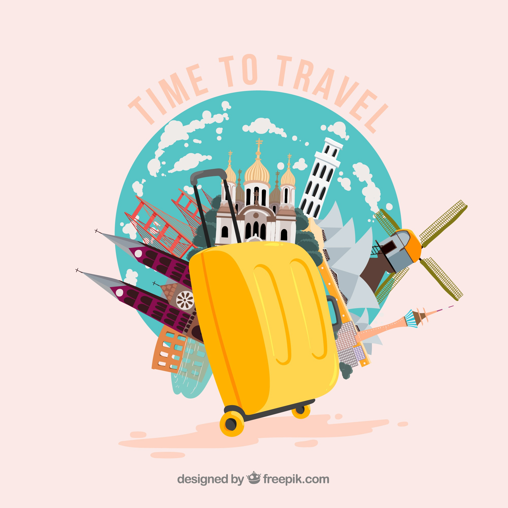 Landmarks and yellow suitcase