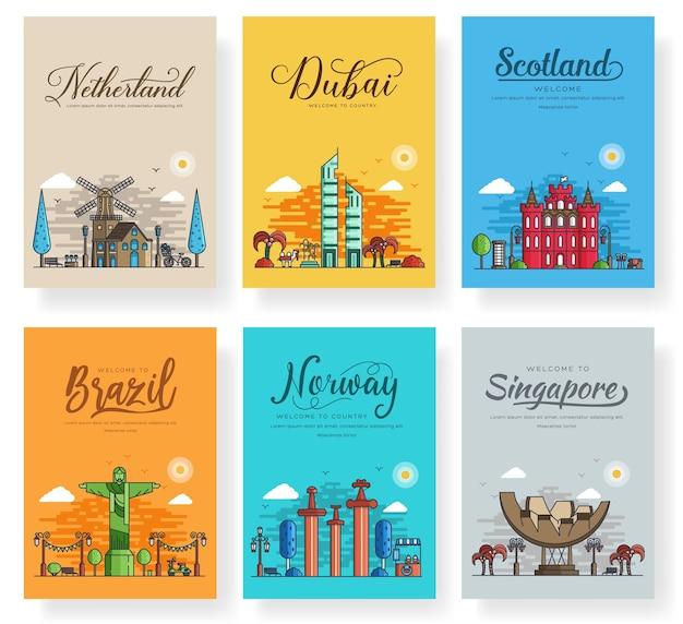チラシ、雑誌、ポスター、本の表紙、バナーのランドマーク文化バナーテンプレート。