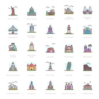 Landmarks flat icons