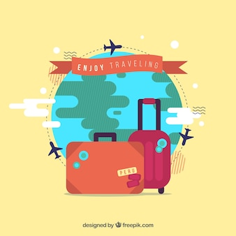 Landmarks and flat suitcases