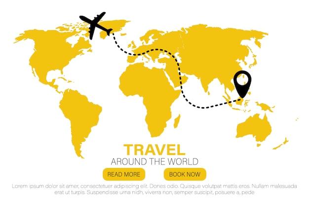 Landmarks on the globe. travel to world. flat