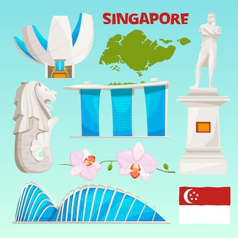 Landmarks icons set of singapore. cartoon cultural objects isolate on white.
