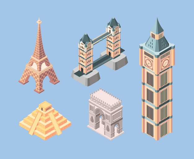 Достопримечательности изометрические. всемирно известные здания, путешествующие символы, мосты, пирамиды, башни, вектор. пирамида и мост в европе, памятник изометрии для иллюстрации туризма