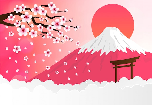 Landmarks of japan with fuji mountain and sakura blossom