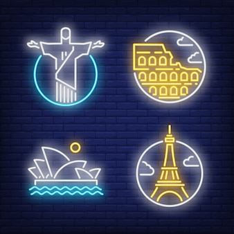 Landmarks neon sign set. christ the redeemer