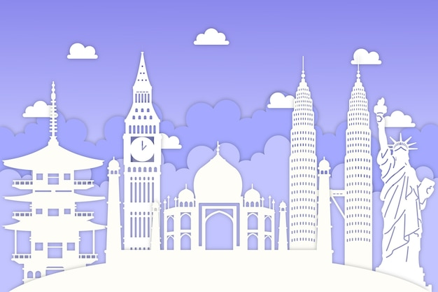 Landmarks skyline in blue and white paper style