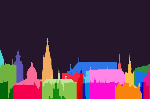 Design colorato di skyline di punti di riferimento