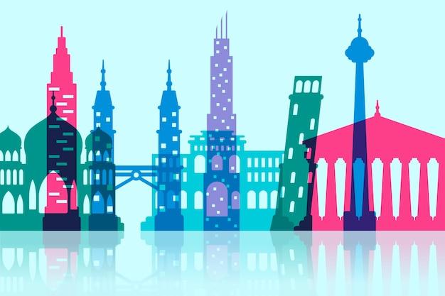 Landmarks skyline colorful style