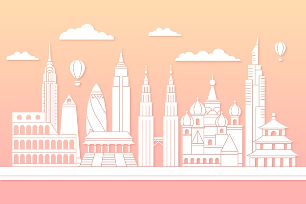 Landmarks skyline in paper style concept