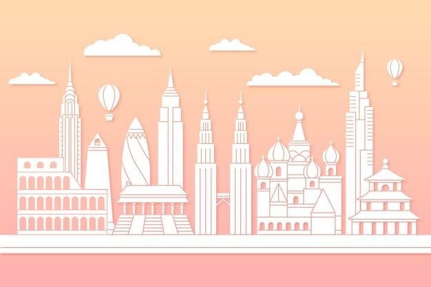 Landmarks skyline in paper style concept