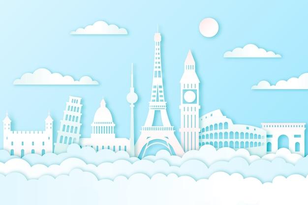 Landmarks skyline in paper style theme