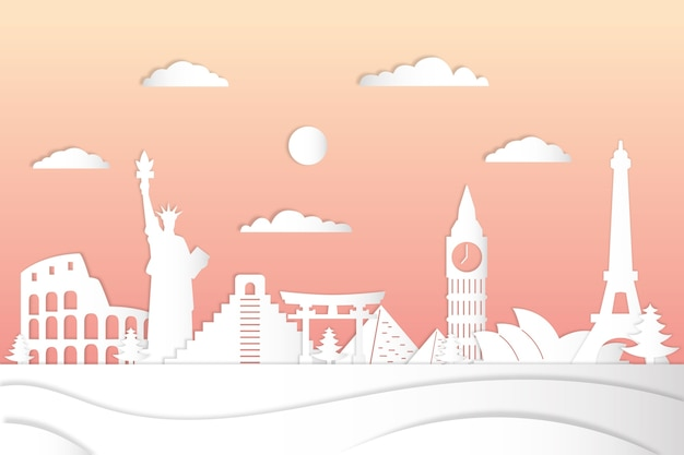 Landmarks skyline in paper style with gradient pink sky