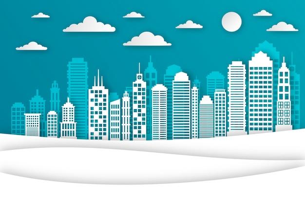 Landmarks skyline in paper style