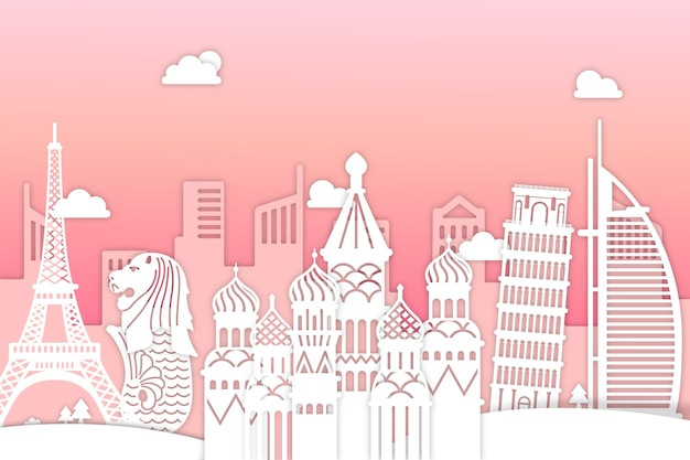 Landmarks skyline in pink and white paper style
