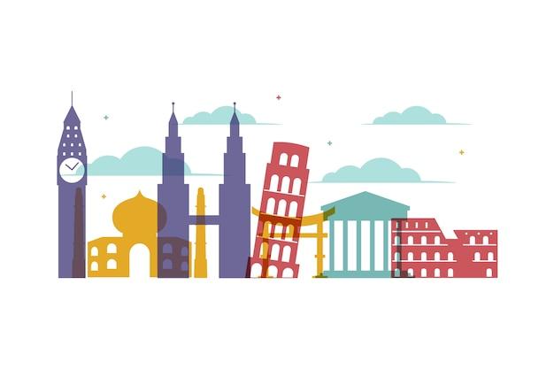 Landmarks skyline with colorful buildings