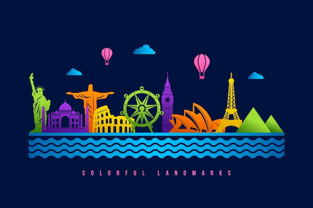Landmarks skyline with colorful design