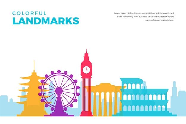 Landmarks skyline with multicolored buildings