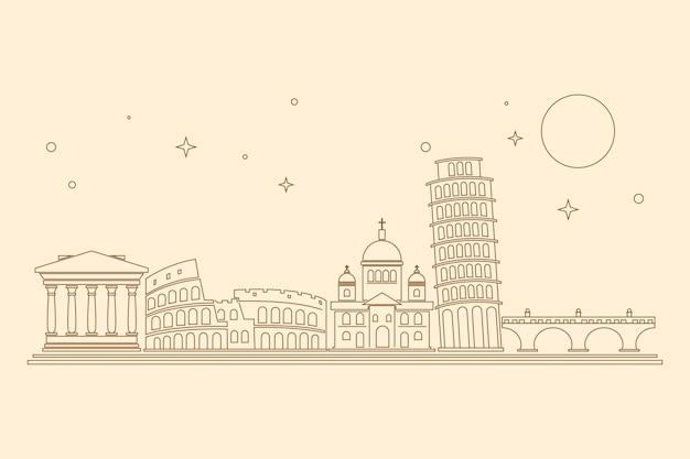 Skyline di punti di riferimento con disegno di assieme