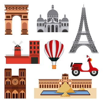 Landmarks of the world collage of monuments in france