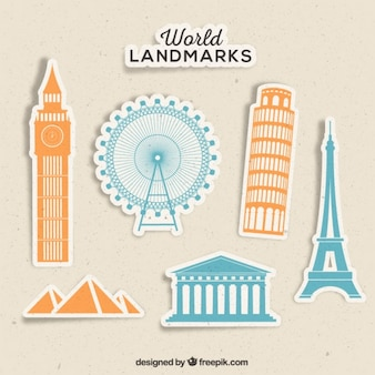 Landmarks of the world labels