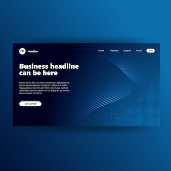 Landong page template with blue gradient modern webpage