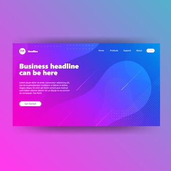 Landong page template with purple gradient banner geometric