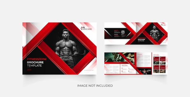 ランドスケープ4ページフィットネスジムパンフレットテンプレートデザイン