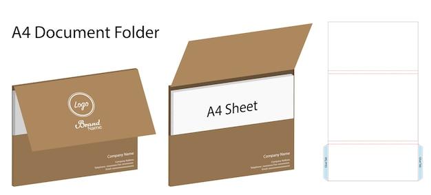 Landscape a4 document folder mockup with dieline