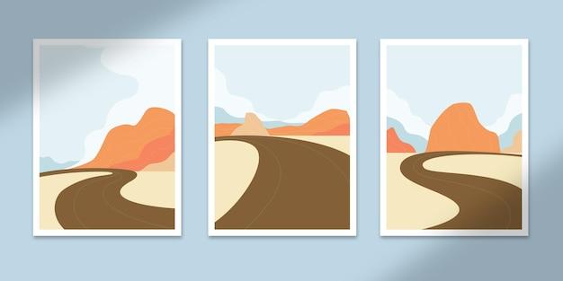 풍경 추상 포스터 아트 손으로 그린 모양 커버 세트 컬렉션 벽 인쇄 장식