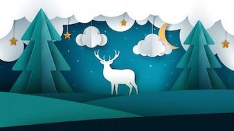 Landscape and deer