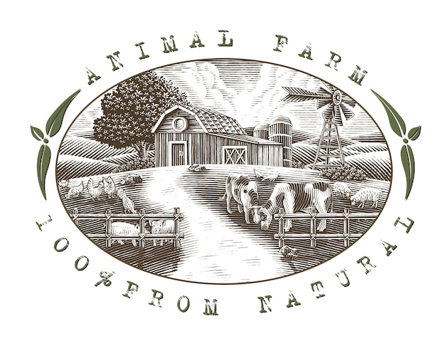 Landscape of animal farm logo hand draw vintage engraving style black and white clip art isolated on white background