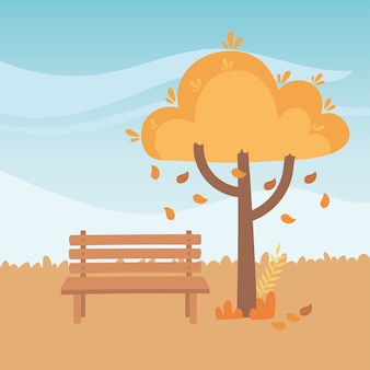 Landscape in autumn nature scene, bench park falling leaves tree