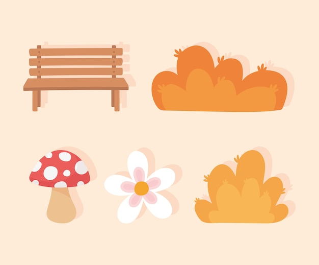 Landscape in autumn nature scene, bench park mushroom flower and bushes icons