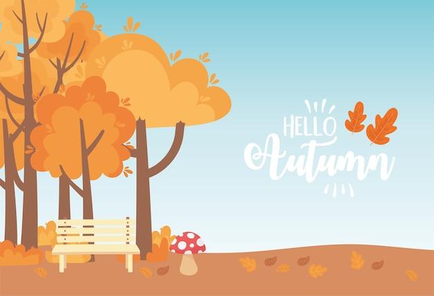 Landscape in autumn nature scene, bench park mushroom trees meadow