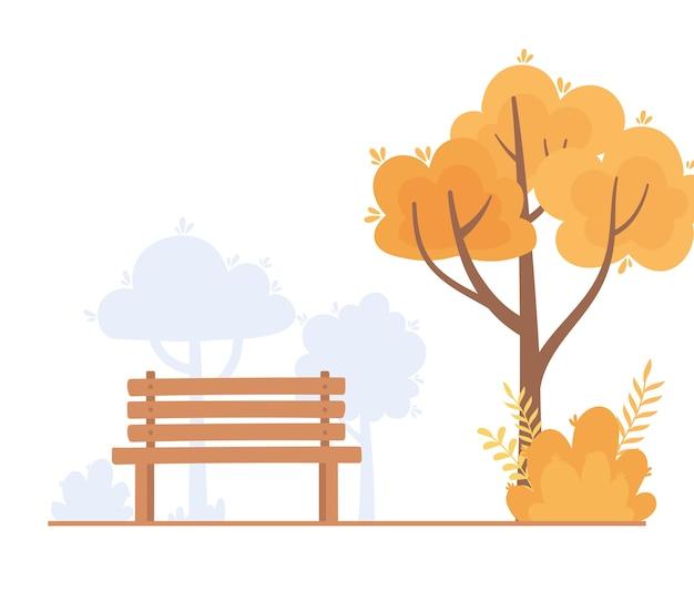 Landscape in autumn nature scene, bench park tree branch bush design