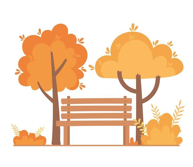 Landscape in autumn nature scene, bench park trees bushes branch