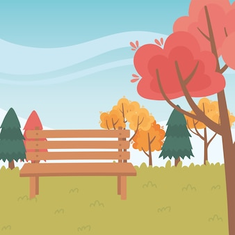 Landscape in autumn nature scene, bench park trees grass natural