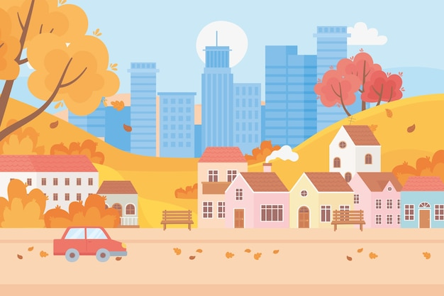 Landscape in autumn nature scene, cityscape urban and suburban houses car trees leaves street