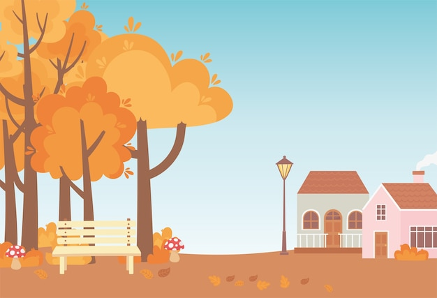 Landscape in autumn nature scene, cottages bench park trees and leaves