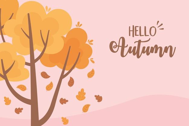 Landscape in autumn nature scene, falling leaves tree branch cartoon