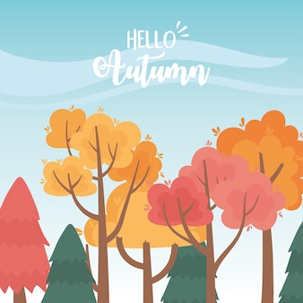Landscape in autumn nature scene, forest trees countryside