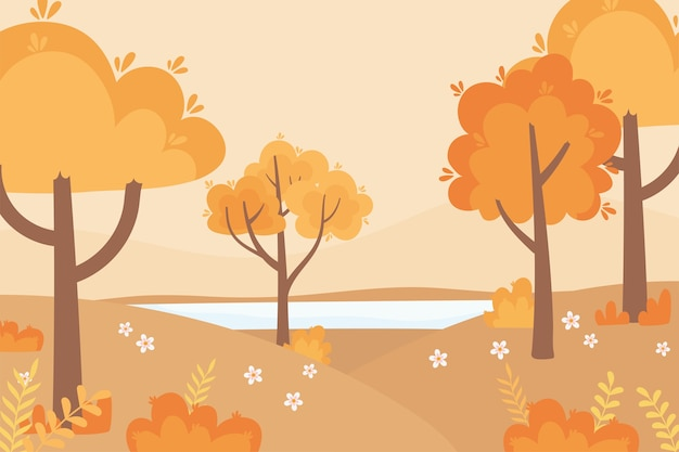 Landscape in autumn nature scene, forest trees flowers grass outdoor