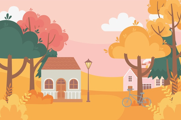 Landscape in autumn nature scene, houses bicycle lamp post trees forest meadow