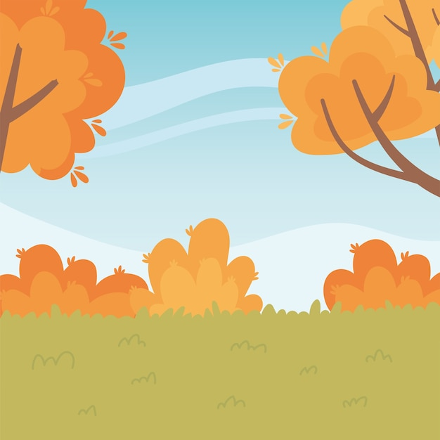 Landscape in autumn nature scene, meadow trees and bushes foliage